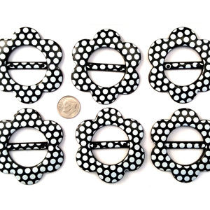 Accessories - 6pc T-Shirt Clip Slide Buckle Scarf Ring Dots